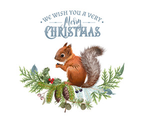 Vector Christmas banner with branches and squirrel