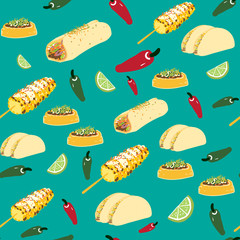 Vector seamless Mexican Food Pattern