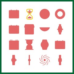 16 time icons set