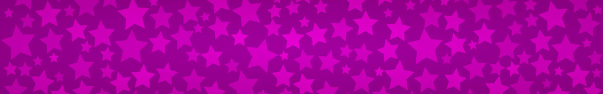 Abstract horizontal banner or background of stars of different sizes in purple colors