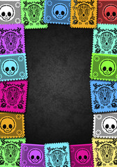 Mexican Day of the Death colorful poster frame template illustration