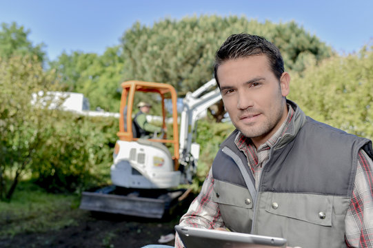 gardener with a tablet