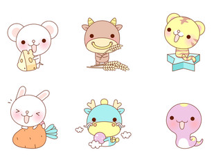 Variation of colorful animals displayed in a row against white background