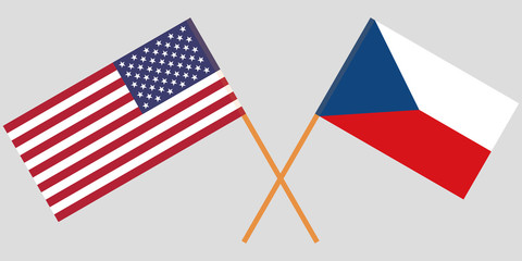 Crossed  flags of Czech Republic and USA. Official colors. Correct proportion. Vector