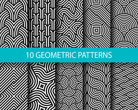 Vector set of ten geometric linear patterns. Collection of seamless monochrome swatches for your design.