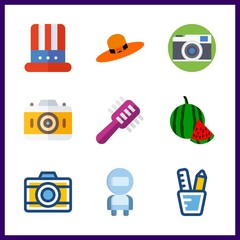 9 image icon. Vector illustration image set. astronaut and pencil case icons for image works