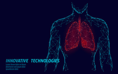 Man silhouette healthy lungs 3d medicine model low poly. Triangle connected dots glow point. Online doctor World Tuberculosis day modern innovative technology render vector illustration