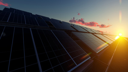 Solar Panel Farm under Red Clouds 3d rendering