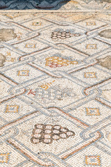 Remains  of a mosaic on the floor in ruins of Kursi - a large Byzantine 8th-century monastery on the shores of Lake Tiberias, on the Golan Heights.