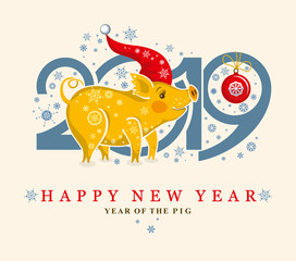 Cute card with a Pig in the Santa Cap and snowflakes. New Year's design. 2019