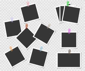 Collection of photo frame with pin. Vector template for your trendy photo or image