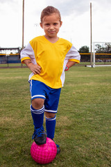 A soccer player stands on the field.