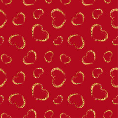 Gold heart seamless pattern. Red color, golden grunge confetti-hearts. Symbol of love, Valentine day holiday. Design wallpaper, background, fabric texture. Vector illustration