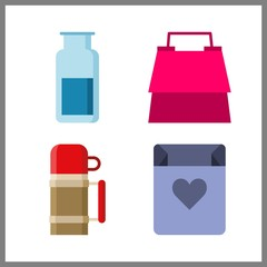 container icon. shopping bag and thermo vector icons in container set. Use this illustration for container works.