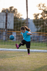 A girl kicks a soccer ball in front of a goal.