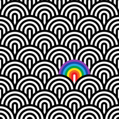 Seamless linear pattern with a rainbow. Vector geometric pattern.