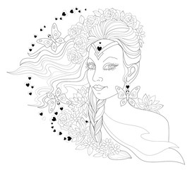 Black and white page for coloring. Fantasy drawing of woman portrait with fashionable hairstyle. Advertising poster for hairdresser. Worksheet for children and adults. Vector image.