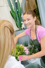 Florist with customer