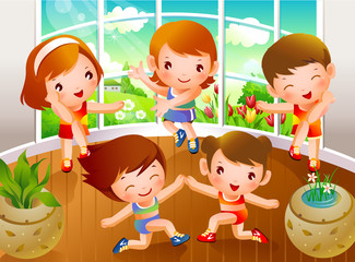 High angle view of two boys and three girls dancing