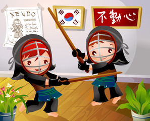 Two girls practicing kendo