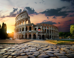Aluminium Prints Ruins Sunlight on Colosseum