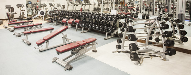 interior view of gym or fitness hall