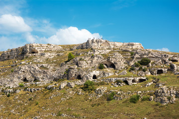 Panorama of the hill in front of Matera with caves carved into the rock