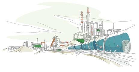 Oil refinery on a landscape