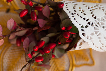 autumn bouquet of red berries