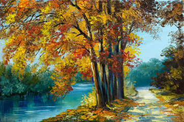 Oil painting landscape - autumn forest near the river, orange leaves, art work