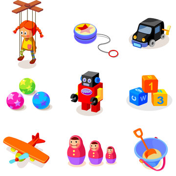 Close-up of different toys