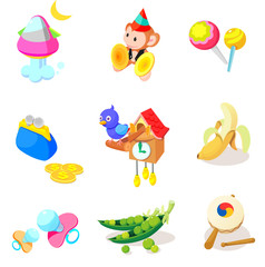 Various objects and toys on a white background