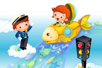 Girl driving a submarine with a traffic cop whistling at a traffic light