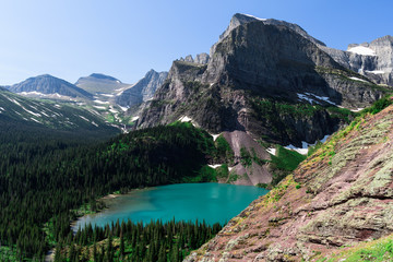 Angel Wing Mountain on a beautiful day in Glacier National Park, Montana