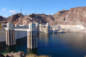 Hoover Dam, once named as Boulder Dam, is located on the border between Nevada and Arizona, USA.