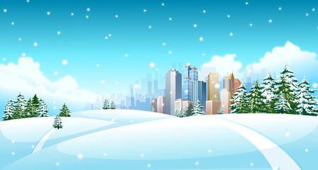 Snowing over a polar landscape