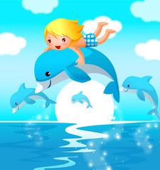 Boy riding a dolphin
