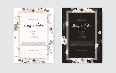 Botanical wedding invitation card template design, white and pink flowers. Vector template set.