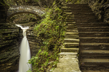 Beautiful view of Watkins Glen State Park waterfall, shot using slow shutter speed