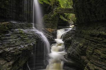 Beautiful view of Watkins Glen State Park waterfall, shot using slow shutter speed