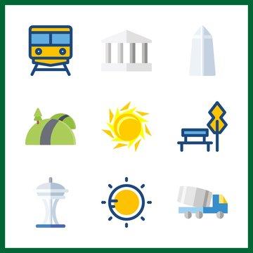 sunrise icon. washington monument and train vector icons in sunrise set. Use this illustration for sunrise works.