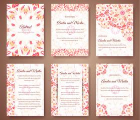 Set of beautiful invitation design flyer ornament concept. Vintage art traditional, Islam, arabic, indian, ottoman motifs, elements. Vector decorative template greeting card illustration.