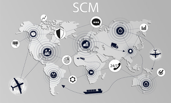 SCM concept illustration. Modern logistics, supply chain management. Delivery stages on the world map.  Supply Chain Management concept banner. Vector illustration