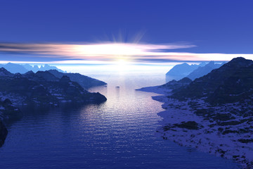 Morning in the fjords in Norway