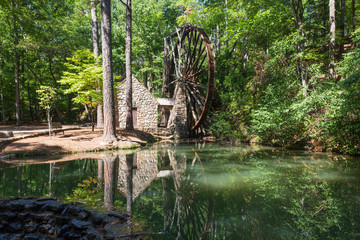 Reflection in the pond in front of the Old Grist Mill at Berry College in Georgia