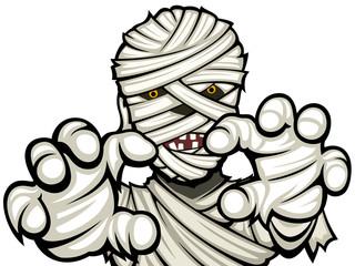 Vector illustration of a cartoon mummy.