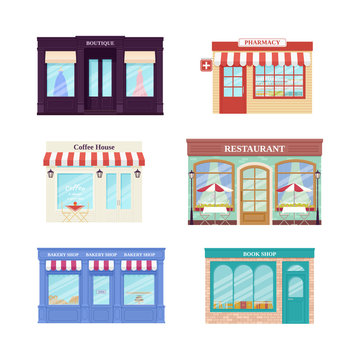 Shop, store front. Vector. Storefronts boutique, cafe, restaurant, pharmacy, bakery store and book shop. Set facade retail buildings isolated in flat design. Cartoon illustration. Street architecture.