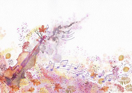 Autumn concert. Watercolor background