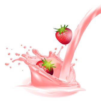 Milk splash and strawberry 3d vector object. Natural dairy products