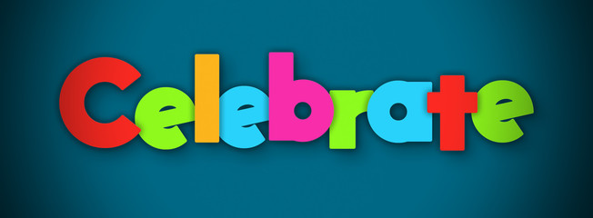 Celebrate - overlapping multicolor letters written on blue background